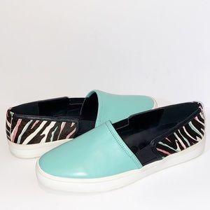 LOGO Megan slip on aqua & animal print sneakers 9